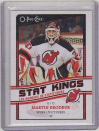 2010 O-Pee-Chee Stat Kings Martin Brodeur Card #SK16 MINT - New Jersey Devils