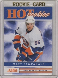 2011 Score Matt Campanale Rookie Card #521 MINT - New York Islanders