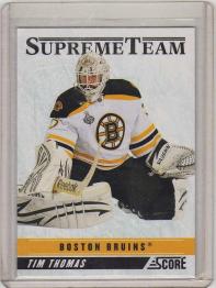 2011 Score Supreme Team Tim Thomas Card #18 MINT - Boston Bruins