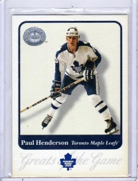 2001 Fleer Greats of the Game Paul Henderson  Card #42 - Toronto Maple Leafs