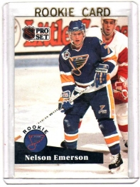 1991 Pro Set  Nelson Emmerson Rookie Card #557 - St. Louis Blues